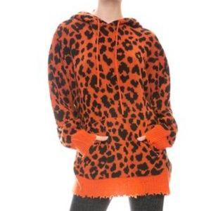 R13 Orange Leopard Cashmere Hoodie